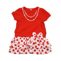 """Платье для девочек красного цвета """"милый горох"""""""