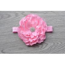Повязка для девочек светло-розового цвета с большим пионом и стразами