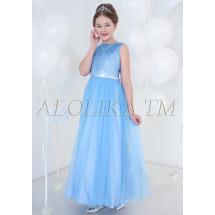 Платье нарядное в пол голубого цвета Корнелия