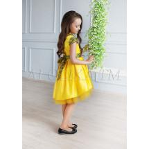 Платье нарядное желтое с асимметричным подолом Элизабет