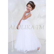 Платье нарядное в пол белого цвета Корнелия