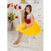 Платье нарядное желтое с большим цветком Моника