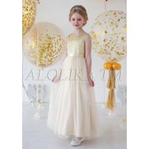 Платье нарядное в пол цвета золото Корнелия