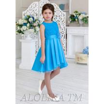 """Платье нарядное василькового цвета с асимметричной юбкой """"Оливия"""""""
