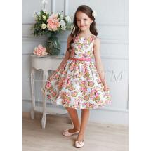 Платье нарядное белое с цветочным принтом Либерти