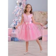 Платье нарядное розовое с жаккардовым рисунком Арсения