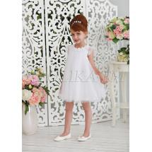 Платье-трапеция нарядное белого цвета Шанталь