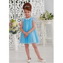 Платье-трапеция нарядное голубого цвета Шанталь