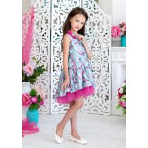 Платье нарядное ментолового цвета с нежным принтом Журавушка