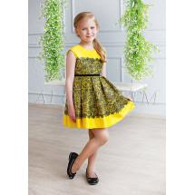 Платье нарядное желтое с кружевным рисунком Полли