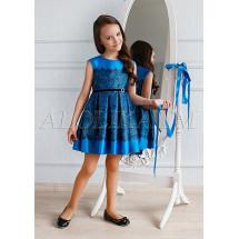 Платье нарядное синее с кружевным рисунком Полли
