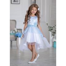 Платье нарядное бело-голубого цвета с ассиметричной юбкой Гламур