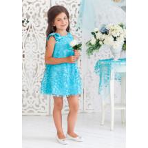 Платье-трапеция нарядное бирюзового цвета с нежными цветами Лейла