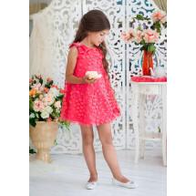 Платье-трапеция нарядное кораллового цвета с нежными цветами Лейла