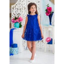 Платье-трапеция нарядное синего цвета с нежными цветами Лейла