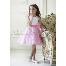 Платье нарядное бело-розовое Розалия