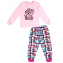 """Пижама с длинным рукавом розовая в клетку """"Мишка в сердечках"""""""
