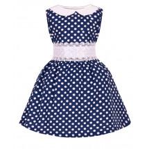 """Платье для девочки синего цвета с кружевным поясом """"Горох"""""""