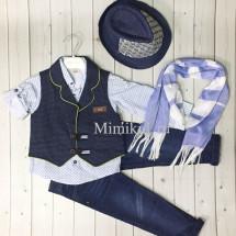 Костюм для мальчиков синий с шляпкой bebus из 5-ти предметов