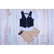 Костюм для мальчиков с синей жилеткой bebus (шорты, рубашка, жилетка и бабочка)