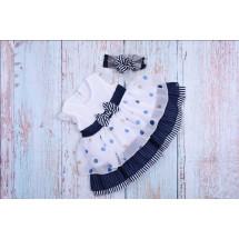 Платье нарядное для малышек в синюю полоску bebus