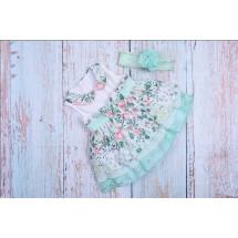 Платье нарядное для малышек с зеленым кружевом bebus