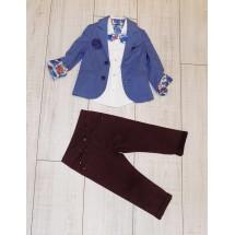 """Костюм для мальчиков с бордовыми джинсами из 4-х предметов """"Адмирал"""""""