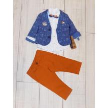 """Костюм для мальчиков с джинсами кирпичного цвета из 4-х предметов """"Адмирал"""""""