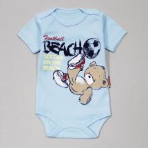 """Боди для малышей голубого цвета """"Мишка на пляже"""""""