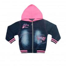 Куртка джинсовая для девочек с розовым капюшоном