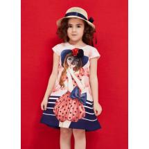 Платье розового цвета с девочкой в шляпке cocoland