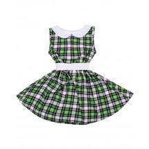 Платье без рукавов в серо-зеленую клетку