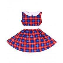 Платье без рукавов красное в синюю клетку