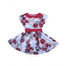 Платье с коротким рукавом голубое с пионами газета