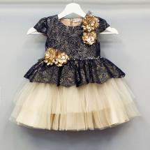 Платье нарядное для девочек гипюр Синий с Капучино