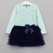 """Платье для девочек с длинным рукавом сине-ментоловое """"Купель"""""""