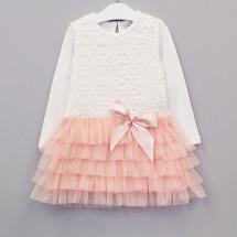 """Платье для девочек с длинным рукавом кремово-розовое """"Купель"""""""