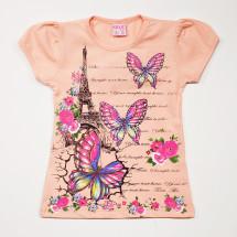 Туника персиковая для девочек с бабочками