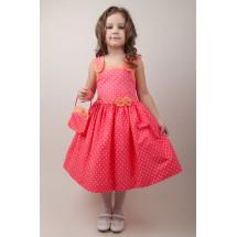 Платье нарядное в желтый горошек с сумочкой