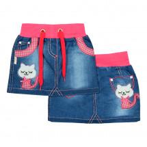 Юбка для девочек джинсовая с розовым пояском с кошечкой