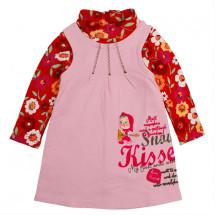"""Платье розовое с длинным рукавом """"маша и медведь"""" (маломерит)"""