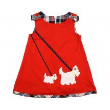 Платье красное для девочек с собачками