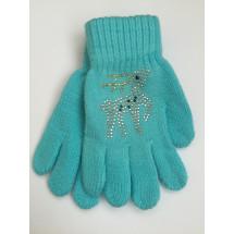 Перчатки осенние бирюзового цвета с оленем из страз