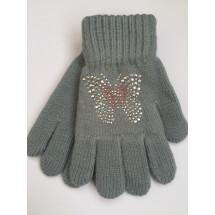 Перчатки осенние серого цвета с бабочкой из страз