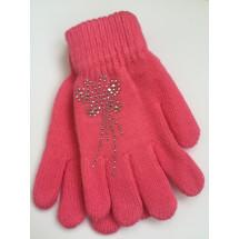 Перчатки осенние розового цвета с узором из страз