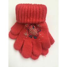 Перчатки зимние ярко-розового цвета с пингвином