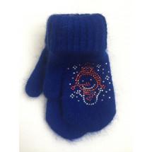 Варежки зимние ярко-синего цвета со снеговиком
