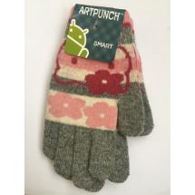 Перчатки зимние сенсорные серого цвета Hello Kitty