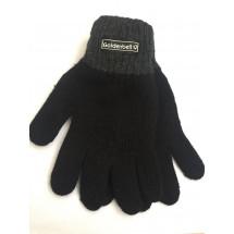 Перчатки зимние черного цвета с серой полоской