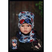"""Комплект синий для мальчика (удлиненная шапка и снуд) """"Booom"""""""